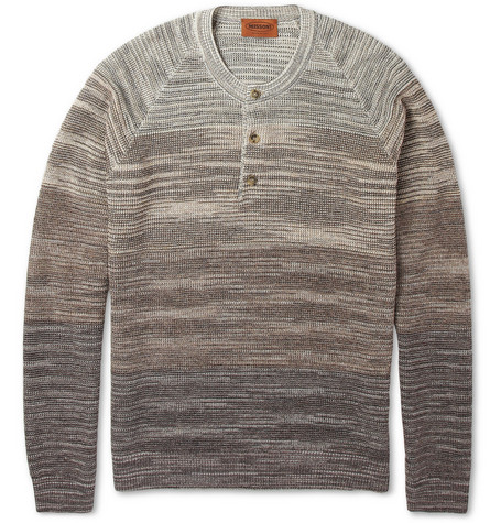 Missoni Long-Sleeved Knitted Cotton-Blend Henley T-Shirt