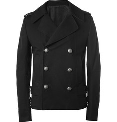Balmain Slim-Fit Leather-Trimmed Lightweight Cotton Peacoat