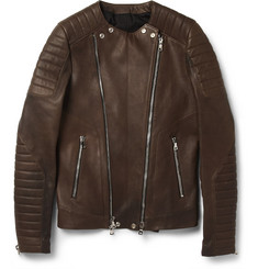 Balmain Slim-Fit Collarless Leather Biker Jacket