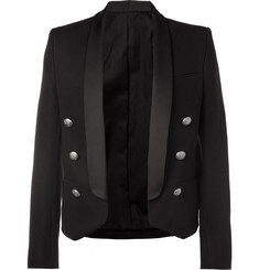 Balmain Slim-Fit Satin-Trimmed Cotton Blazer