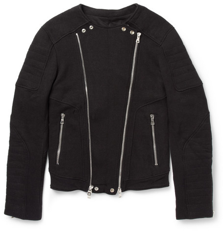 Balmain Cotton-Blend Jersey Biker Jacket