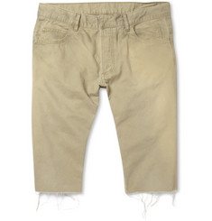 Balmain Raw-Edged Cotton-Twill Shorts