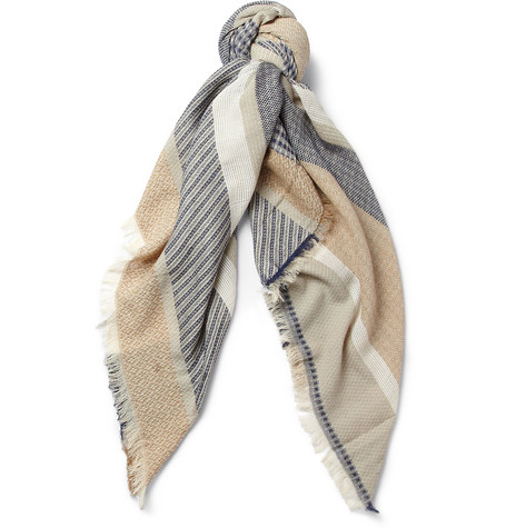 Balmain Jacquard Cotton and Linen-Blend Scarf