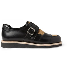 Balmain Raffia-Insert Leather Monk-Strap Shoes
