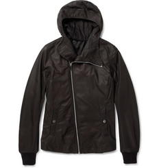 Rick Owens Bullet Slim-Fit Hooded Leather Jacket