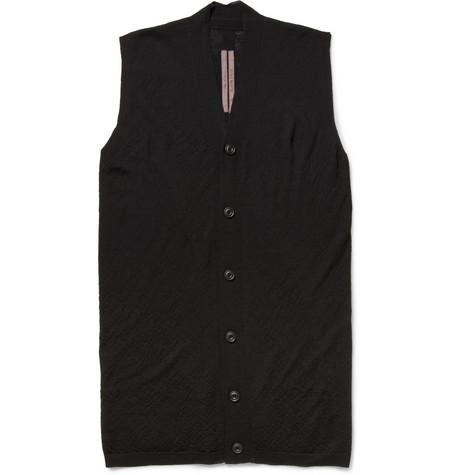 Rick Owens Wool-Jersey Sleeveless Cardigan