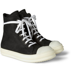 Rick Owens Ramones High Top Suede Sneakers