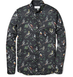 Ami Bird-Print Cotton Shirt
