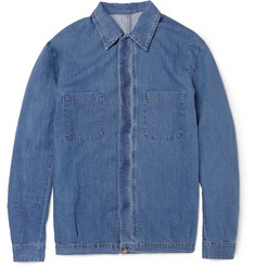 Ami Washed-Denim Cotton and Linen-Blend Shirt