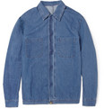 AMI - Washed-Denim Cotton and Linen-Blend Shirt