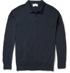 Ami Long-Sleeved Linen and Cotton-Blend Jersey Polo Shirt