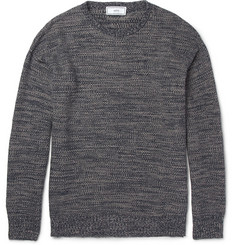 Ami Textured Knitted Linen and Cotton-Blend Sweater