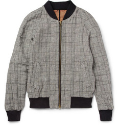 Ami Prince of Wales Check Linen-Blend Bomber Jacket