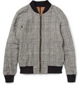 AMI - Prince of Wales Check Linen-Blend Bomber Jacket