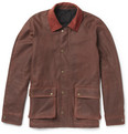 AMI Corduroy-Trimmed Waxed-Cotton Jacket