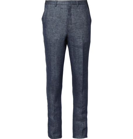AMI Blue Linen Suit Trousers