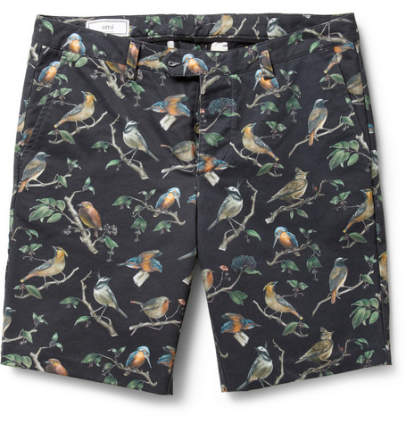 AMI Bird-Print Cotton-Twill Shorts