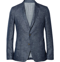 Ami Blue Unstructured Linen Suit Jacket