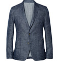 AMI - Blue Unstructured Linen Suit Jacket