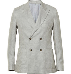 Ami Double-Breasted Linen Blazer