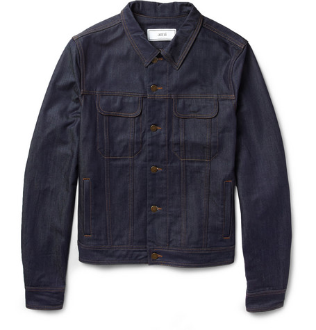 AMI Suede-Trimmed Denim Jacket