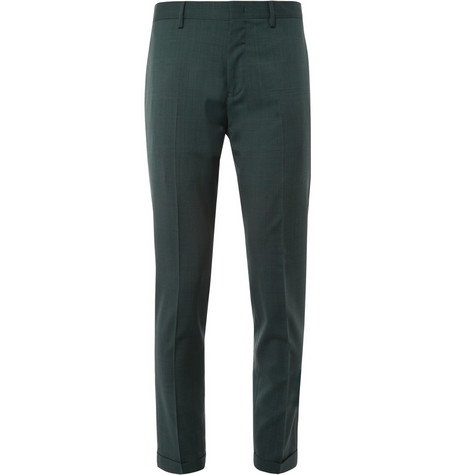 Paul Smith Green Wool-Blend Suit Trousers