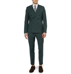 Paul Smith Dark Green Wool-Blend Suit Trousers