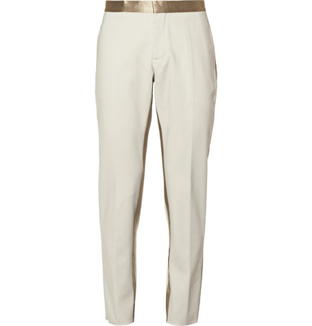 Neil Barrett Stone Satin-Trimmed Cotton-Blend Tuxedo Trousers
