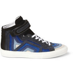 Pierre Hardy Striped Suede High Top Sneakers