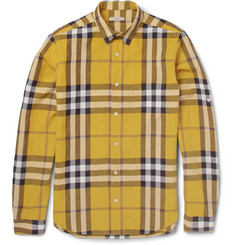 Burberry Brit Plaid Linen and Cotton-Blend Shirt