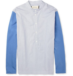 Marni Grandad-Collar Contrast-Sleeve Cotton Shirt
