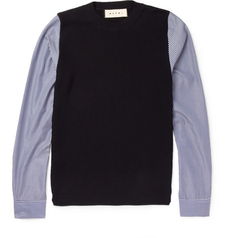 Marni Contrast-Sleeve Knitted Cotton Sweater