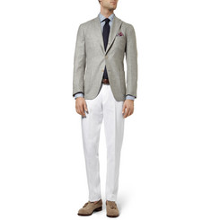 Loro Piana Straight-Leg Cotton and Linen-Blend Trousers