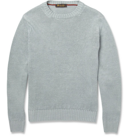 Loro Piana Linen-Knit Crew Neck Sweater