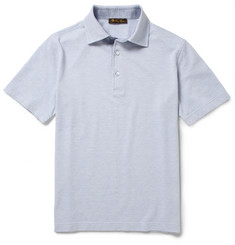Loro Piana Chambray-Trimmed Cotton-Piqué Polo Shirt