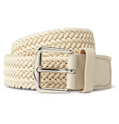 Loro Piana 3.5cm Ecru Leather-Trimmed Woven Waxed-Cotton Belt