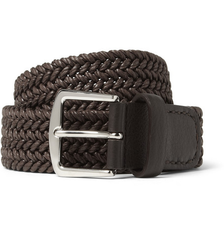 Loro Piana Brown 3.5cm Leather-Trimmed Woven Waxed-Cotton Belt