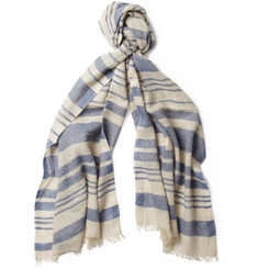 Loro Piana Striped Cashmere and Linen-Blend Scarf