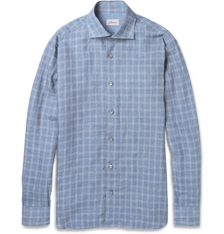 Brioni Plaid Linen Shirt