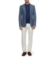 Brioni Long-Sleeved Knitted Cotton Polo Shirt