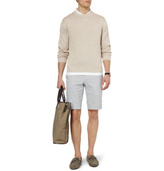 Brioni Slim-Fit Striped Cotton-Blend Shorts