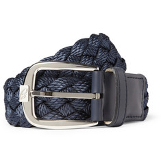 Brioni Leather-Trimmed Woven Belt
