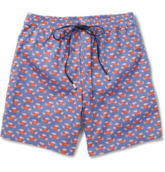 Brioni Lobster-Print Mid-Length Cotton-Blend Swim Shorts
