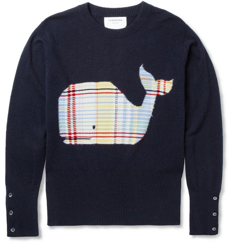 Thom Browne Slim-Fit Whale Intarsia Cashmere Sweater