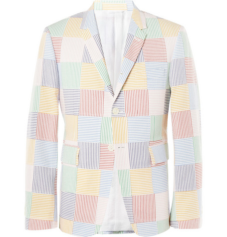 Thom Browne Blue Seersucker Cotton Suit Jacket