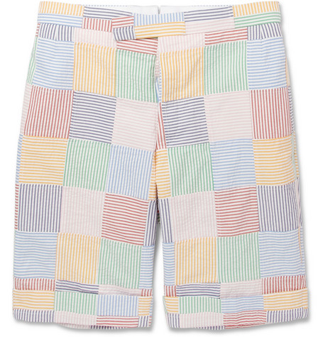 Thom Browne Blue Seersucker Cotton Suit Shorts