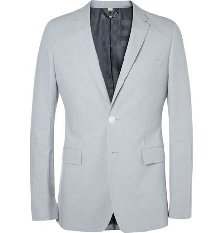 Burberry London Blue Cotton and Linen-Blend Suit Jacket