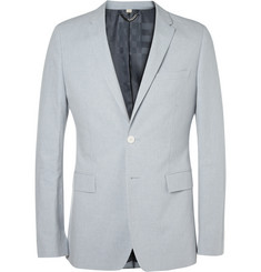 Burberry London Light Blue Cotton and Linen-Blend Suit Jacket