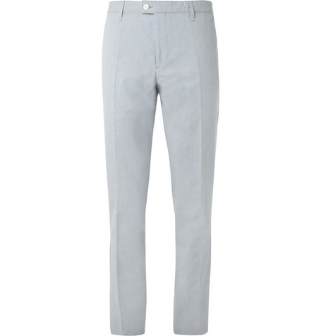 Burberry London Blue Cotton and Linen-Blend Suit Trousers
