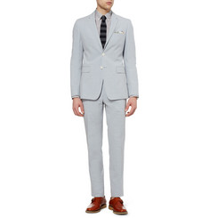 Burberry London Light Blue Cotton and Linen-Blend Suit Trousers